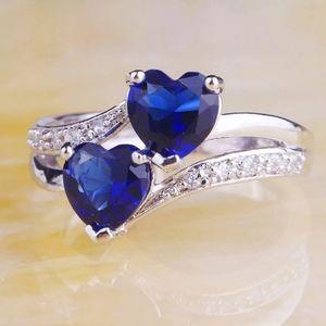 Sapphire Quartz topaz gemstone engagement ring 925